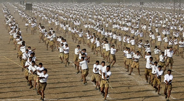 RSS workers take part in the daily morning drill in Ahmedabad, Gujarat. Reuters